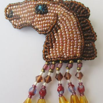 Vintage Beaded Horse Pin. Pony Equine Jewelry Brooch.  Unique gift for horse lover. Shades of brown. Under 20. New old stock