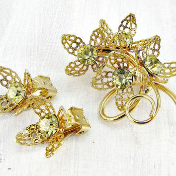 Vintage Gold Flower Brooch Earrings Set, Yellow Rhinestone Brooch Earrings, Gold Filigree Flower Brooch Earrings, 1960s Vintage Jewelry