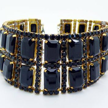Black Czech Glass Rhinestone Collar Necklace, Husar D.