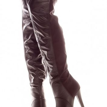 BLACK FAUX LEATHER SIDE ZIPPER OVER THE KNEE PLATFORM BOOTS