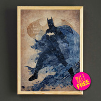 Dark Knight Batman Watercolor Art Print Justice League Superhero Poster House Wear Wall Decor Gift Linen Print - Buy 2 Get FREE - 133s2g