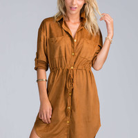 Tie A Boho Faux Suede Shirt Dress