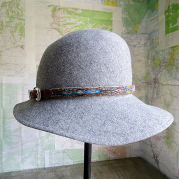 Vintage Boho Grey floppy hat with Horse Hair hat band leather buckle