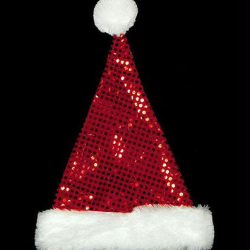 Santa Claus Hat - Features A Festive Santa Hat Decorated With Red Sequins And Glitter