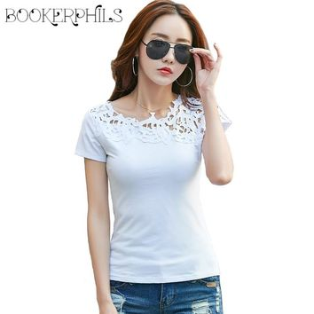 2017 Fashion Lace Hollow Out Patchwork Female T-shirt Summer Slim all-match Bottoming Shirt  Casual Ladies Tops Tees 95% Cotton