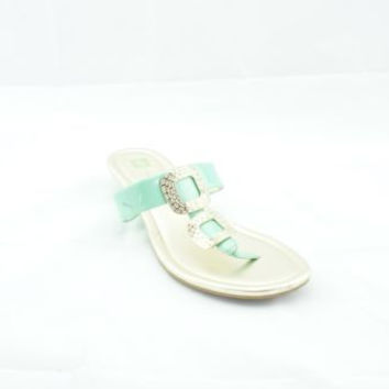 Anne Klein Gold?Green Leather Thong Sandals Women's 8 M