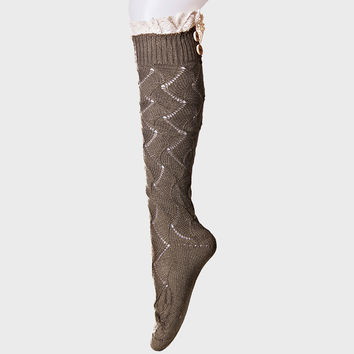 Button Trim Scalloped Pointelle Knee High Boot Socks - Coffee