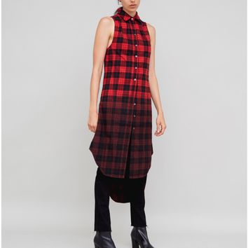 PLAID SHIRT DRESS W/OMBRE RED/BLACK