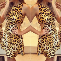 Leopard Print Cut Out Sleeveless Dress