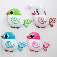 New Creative Bird Pattern Suction Cup Toothbrush Holder House Storage Tool