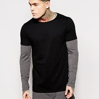ASOS Super Longline Long Sleeve T-Shirt With Double Layer And Side Zip