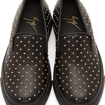 Giuseppe Zanotti Black Leather Lo Slip-on
