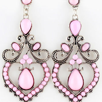 Pink Gemstone Retro Silver Gauges Plugs Dangles Earrings