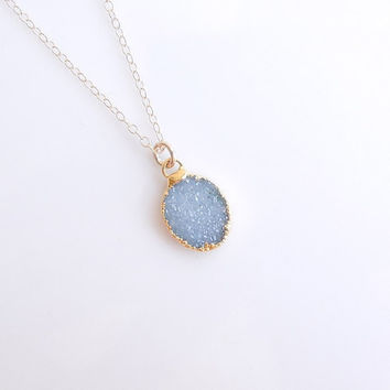 Light Blue Druzy Necklace in Gold - OOAK Jewelry
