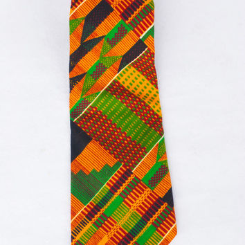 Vintage Kente Fabric African Print Necktie By Dino Collection