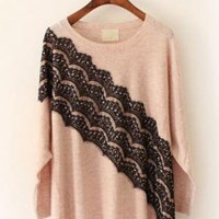 Lace Bat Sleeve Sweater Pink  S005037