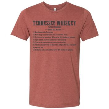 Adult Tennessee Whiskey Requirements on a Heather Clay T-Shirt