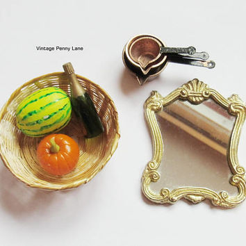 Vintage Miniatures, Doll House Figurines, Vegetables, Basket, Copper Pots, Mirror