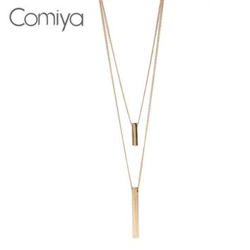 Comiya Multi-Layers Necklace Three Colours Simple Trendy Long Necklaces Bisuteria Mujer Zinc Alloy Bijoux Double Layers Chain