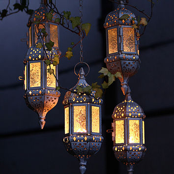 Vintage Metal Hollow Candle Holder Moroccan Hanging Lantern