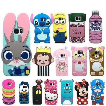 Case for samsung galaxy S7 edge silicone cartoon case cover for galaxy S7 S6 soft rubber 3d cute rabbit hello kitty phone cases