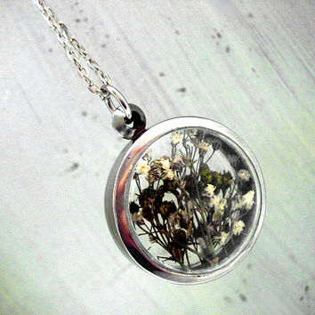 White and Green Buds in window locket necklace. Long silver colored chain. Spring jewelry for her.
