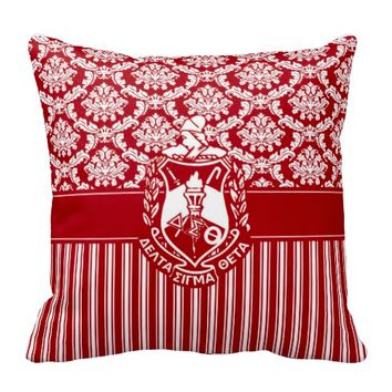 Delta Sigma Theta Sorority ΔΣΘ Damask & Stripes Shield Pillow