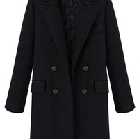 Double-Breasted Lapel Worsted Coat