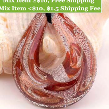 1pc style Fashion unique lampwork Murano art glass beaded pendant necklace p588-593