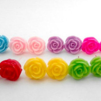 Small Glittery Rose Flower Colour Cabochon Stud Earrings