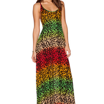 Michael Lauren Gage Deep Back Maxi Dress in Rasta Leopard