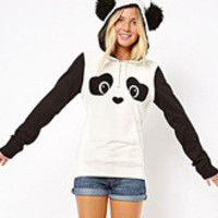 Panda Print Embossed Hooded Coat for Women