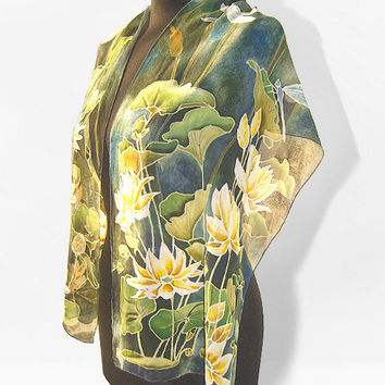Long Silk scarf Waterlily & Dragonfly hand painted handmade scarves - green blue gold flowers for mother