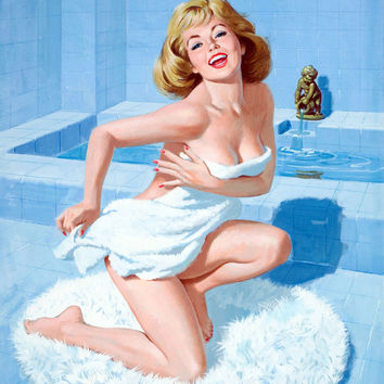 Pin-Up Girl Wall Decal Poster Sticker - Bath Time - Blonde Pinup Pin Up