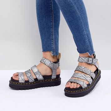 Dr Martens Blaire Vegan Strappy Flat Sandals in Silver at asos.com