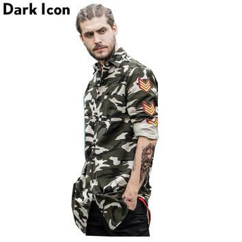 Men Patches on Sleeve Hipster Shirts Spring Streetwear Side Ribbon Men's Shirt Man Clothing