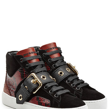 Burberry Shoes & Accessories - Leather High Top Sneakers with Suede and Snakeskin