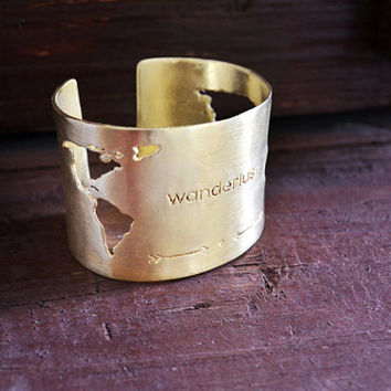 "Travel Bracelet / World Map Cuff Bracelet / Christmas Gift / Handmade Cuff Bracelet With ""Wanderlust"" Engraving And World Map Cutting"