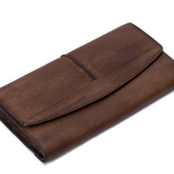 BLUESEBE HANDMADE VINTAGE GENUINE LEATHER LONG WALLET 9056VB