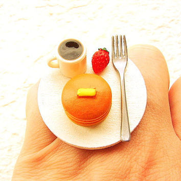 Miniature Food Ring Coffee Pancakes Cute Food Jewelry