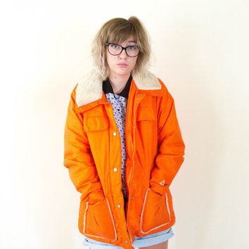 vtg orange snow jacket, vintage bright neon, retro fur wool coat, 1990s ironic tumblr soft grunge vaporwave, art hoe, urban outfitters