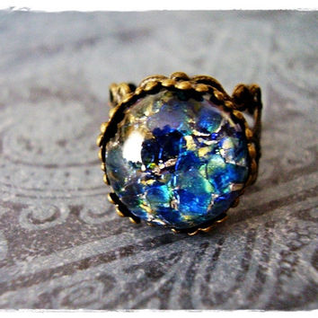 Dark Blue Opal Round Glass Cabochon Ring with an Ornate Antique Brass Filigree Band
