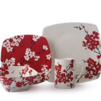 222 Fifth Mia Blossoms Square Dinnerware Set, Red, 16-Piece