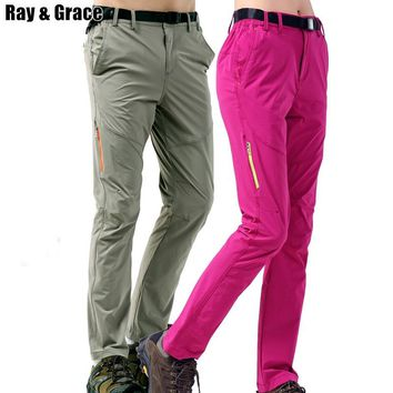 RAY GRACE Tactical Outdoor Pants Men Women Hiking Fishing Climbing Pants Elastic Quick Dry Trousers Camping Lovers Pockets Pants