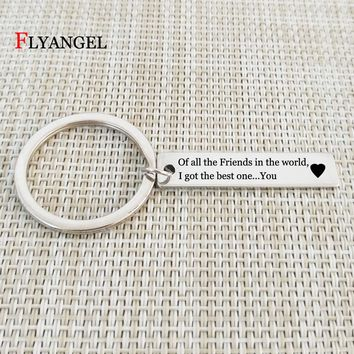 """Best Friends Keychains Lettering""""I got the best one you"""" Charming Keyring Personalized Gift For Women Men Friends Car Key Chains"""