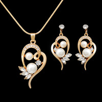 Fashion Women Simulated Pearl Jewlery Sets Top Quality Crystal Wedding Necklaces Earrings Set For Women Bridal Jewelry