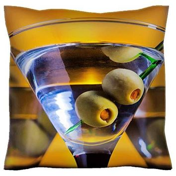 MSD Handmade 24X24 Throw Pillow case Polyester Pillowcase Decorative Pillow Covers Sofa Bed Couch Glasses with Martini and Green Olives Focus on Olives Image 22252479 Customized Tablema