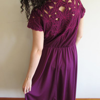 Vintage Deep Plunge Purple Floral Cut Out Dress