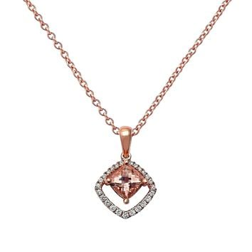 1.21tcw Cushion Morganite & Diamond in 14K Rose Gold Pendant Necklace