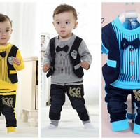 Best retail selling children's Clothing Sets waistcoat shirt+pants baby boy kids 2 piece suit sets = 1705141764